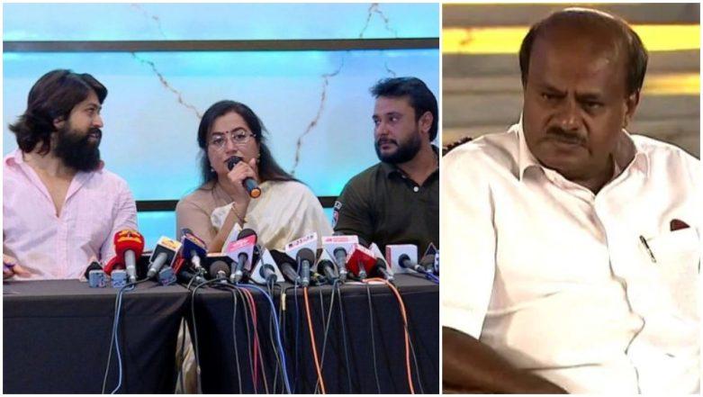 Karnataka CM HD Kumaraswamy Mocks KGF Star Yash, Brother Darshan for Calling Themselves 'Bullocks' in Sumalatha's Campaign – Watch Video