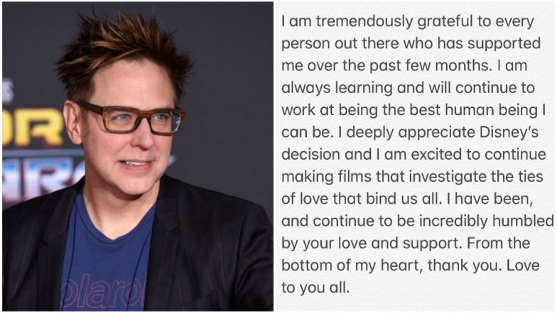 James Gunn Returns to Twitter After Being Rehired to Direct Guardians of the Galaxy 3; Thanks Disney Studios and Marvel Fans in His First Tweet!