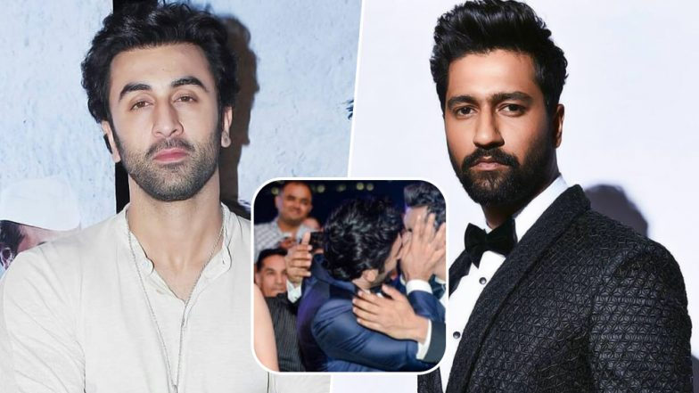 Filmfare Awards 2019: Ranbir Kapoor Is Clearly Happy with Vicky Kaushal's Big Win and Their AWKWARD Kiss is Proof of That