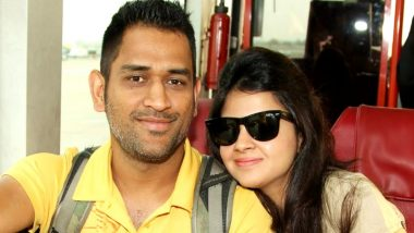 MS Dhoni Trolls Wife Sakshi Rawat After She Continues to Tease him With Sweetie Remark in Public (Watch Video)
