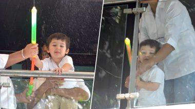 Taimur Ali Khan Is All Smiles Enjoying Holi By Splashing Water From His Colourful 'Pichkari' From The Balcony-   View Pics!