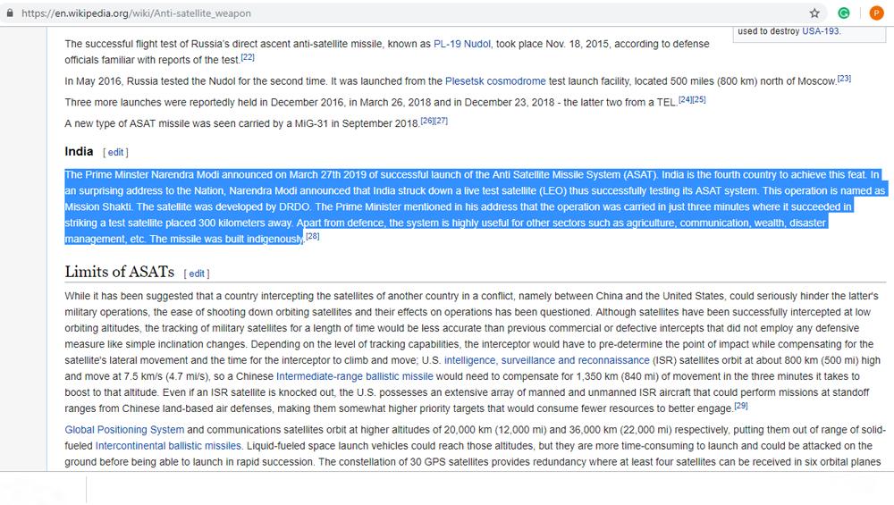 Screenshot of edited Wikipedia text on anti-satellite weapons (Photo Credits: Wikipedia)