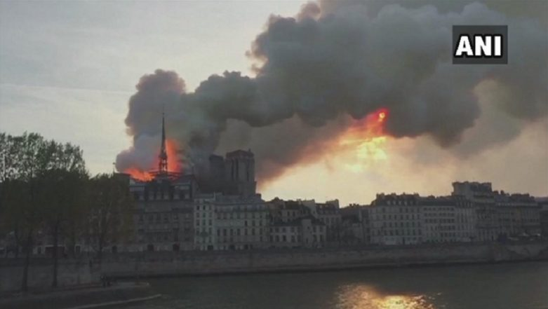 Notre-Dame Cathedral in France Engulfed in Flames, Fire Fighting Operation Underway; Donald Trump Reacts