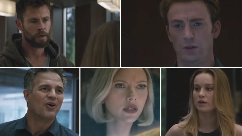 Avengers EndGame New Footage Has Captain Marvel Stir Up Captain America, Thor and Others to Take the Fight to Thanos – Watch Video