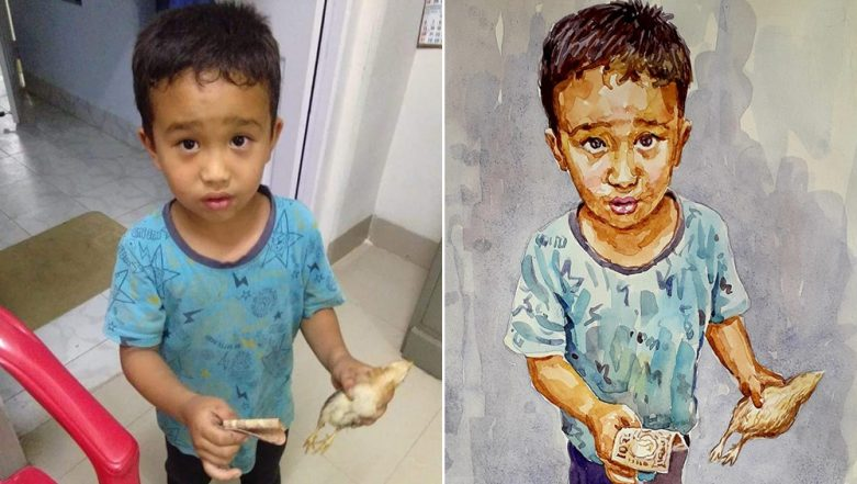 Viral Pic of Mizoram Boy Who Took Injured Chicken To Hospital Turned Into a Beautiful Portrait by a Kerala Artist!