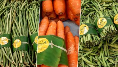SunnyBee Store in Chennai Adopts Banana Leaf Packaging For Vegetables, Following Thailand's Supermarket Example (View Pics)