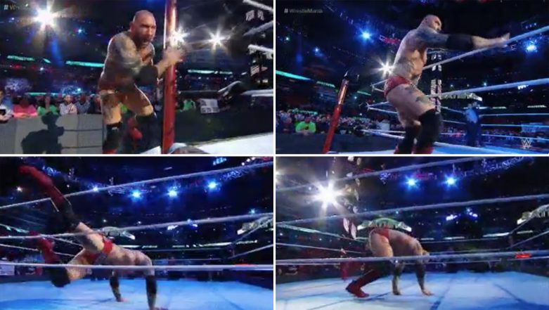 WWE WrestleMania 35: 'The Animal' Batista Trips Before His Match Against  'The Game' Triple H (Watch Video)