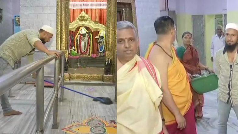 Muslim Man Saddam Hussein Cleans Temple Ahead of Ram Navami in Bengaluru, Shows Example of Unity in Diversity