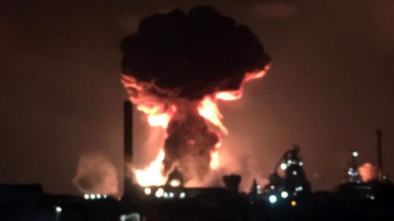 Explosion and Fire at Tata Steelworks in Port Talbot of South Wales, UK