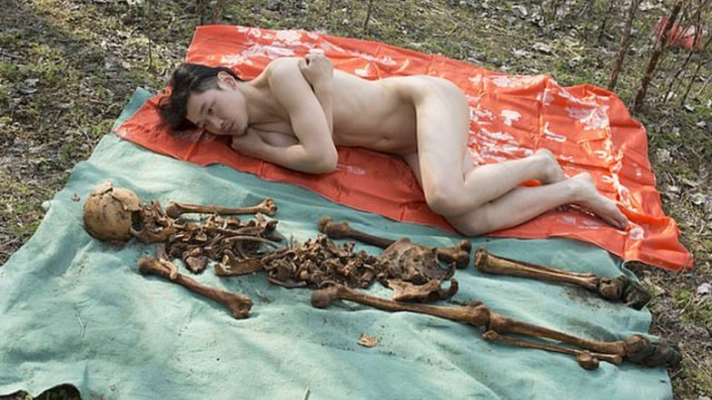 Chinese Artist Slammed for Clicking Nudes with Dad's Skeleton! Says 'It's the Closest I've Felt with Him' (View Pic)