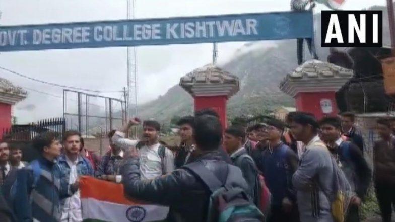 Jammu and Kashmir: Students Protest Demanding Hoisting of National Flag in College Premises in Kishtwar