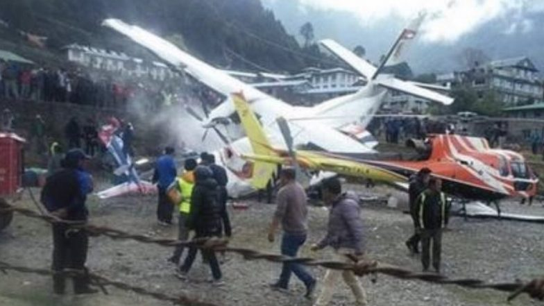 Summit Air Flight Crash: Two Killed, Five Injured After Aircraft Collided With Parked Chopper at Tenzing–Hillary Airport in Nepal