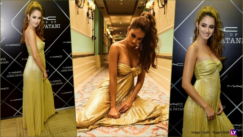 Disha Patani Cuts a Dreamy Figure in Golden Strapless Dress With Plunging Neckline at a Beauty Product Launch (View Pics)