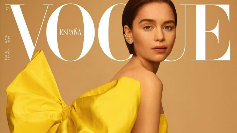 'Mother of Dragons' Emilia Clarke Shines Bright in Valentino Dress & Diamond Wing Earrings on Vogue Spain Cover! View Pics