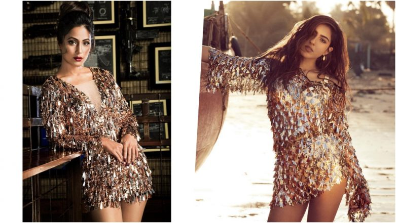 Fashion Faceoff! Hina Khan or Sara Ali Khan, Who Looks Sexier in Gold Fringe Dress? View Hot Pics