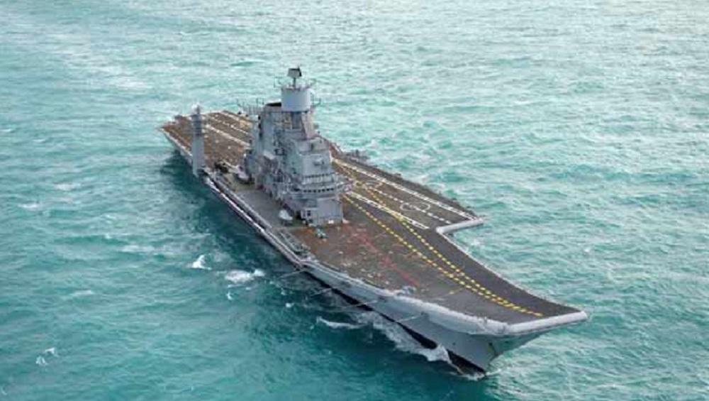 Indian Navy Deploys Aircraft Carrier INS Vikramaditya in Arabian Sea Amid China-Pak Naval Drill