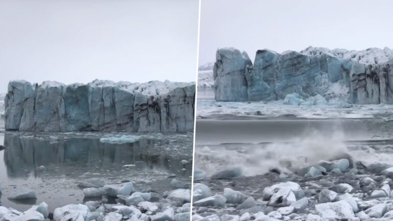 Ice Chunk From Massive Glacier Collapses in Iceland Causing Huge Wave; Tourists Flee (Watch Video)