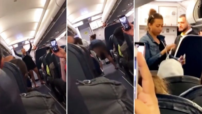 Woman Flashes Her Butt While Twerking Onboard a Spirit Airlines After Creating a Ruckus on Being Asked to Turn Off Her Phone (Watch Viral Video)