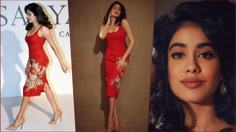 Janhvi Kapoor Looks Like a Million Bucks in This Red Sabyasachi Bodycon Dress & Perfect Winged Eyeliner (View Pics)