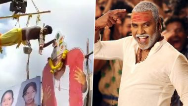 An Insane Fan of Raghava Lawrence Hangs From a Crane to Pour Milk on Kanchana 3 Director's Cut-Out, Video Goes Viral