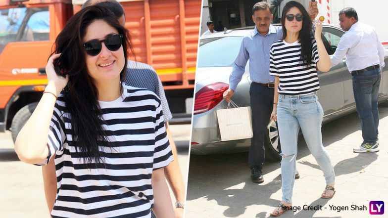 Kareena Kapoor Khan Keeps it Basic in Black n White Striped Tee and Yet Manages To Look So Glamorous! (View Pics)