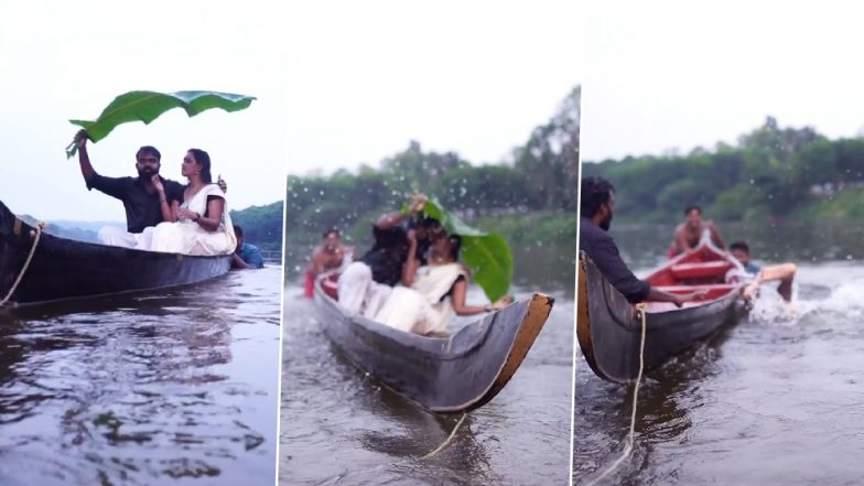 Kerala Couple Falls off Canoe Into River While Trying to Kiss During Pre-Wedding Shoot; Video Goes Viral