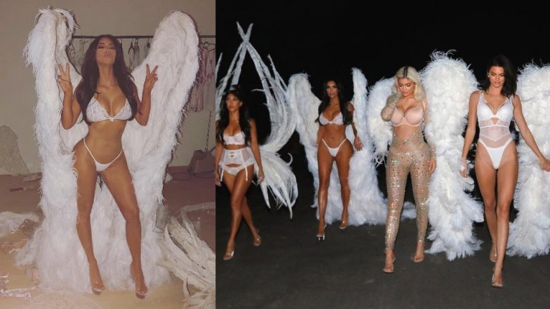 Kim Kardashian West Shares A Picture Sporting A Gorgeous White Victoria's Secret Lingerie Along With Angel Wings And It's Everything!