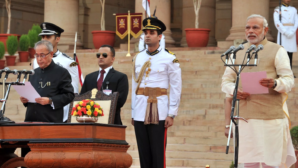 Narendra Modi takes oath as PM of India in 2014 (Photo Credits: PIB)