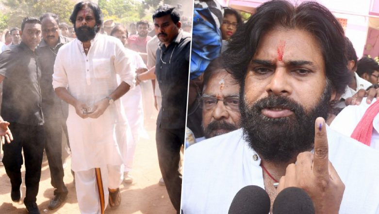 Lok Sabha Elections 2019: Pawan Kalyan Casts His Vote in Vijayawada, JSP Chief Talks About EVM Malfunctions (Watch Video)