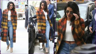 Priyanka Chopra Jonas Street Style: Actress Flashes Her Belly Ring While Sporting a Crop Top, Denim Bottoms and Plaid Coat (View Pics)
