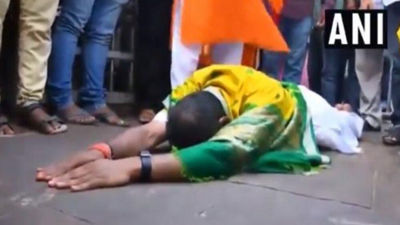 Sambit Patra, BJP Candidate From Puri Lok Sabha Seat, Performs 'Sashtang Pranam' at Jagannath Temple, Watch Video