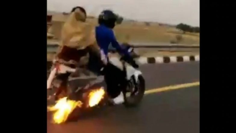 TVS Apache Catches Fire on Agra Expressway, Cops chase down & Save Lives of Three; Watch Video