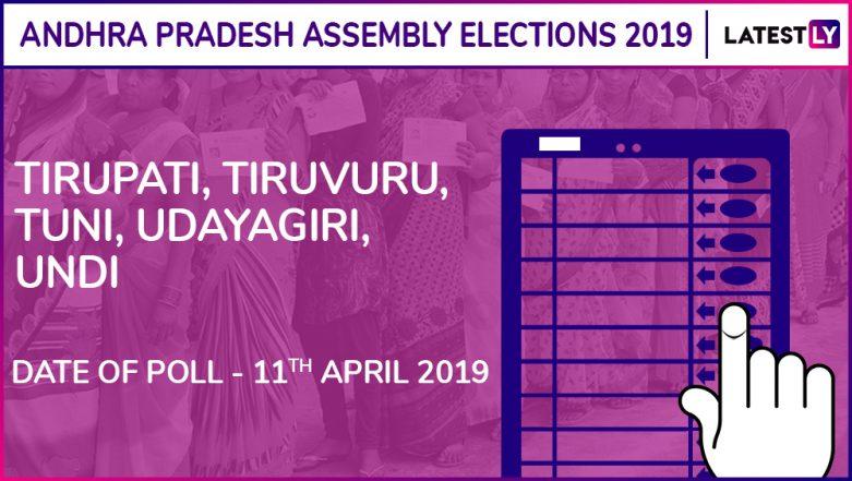 Tirupati, Tiruvuru, Tuni, Udayagiri, Undi Assembly Elections 2019 Results: Candidates, Names of Winning MLAs of Andhra Pradesh Vidhan Sabha Seats