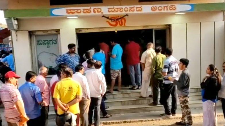 Mutton Mania! Bengaluru Butcher Shop Sells 600 Kg of Goat Meat on Hosa Todaku as Hundreds Queue Up (Watch Viral Video)