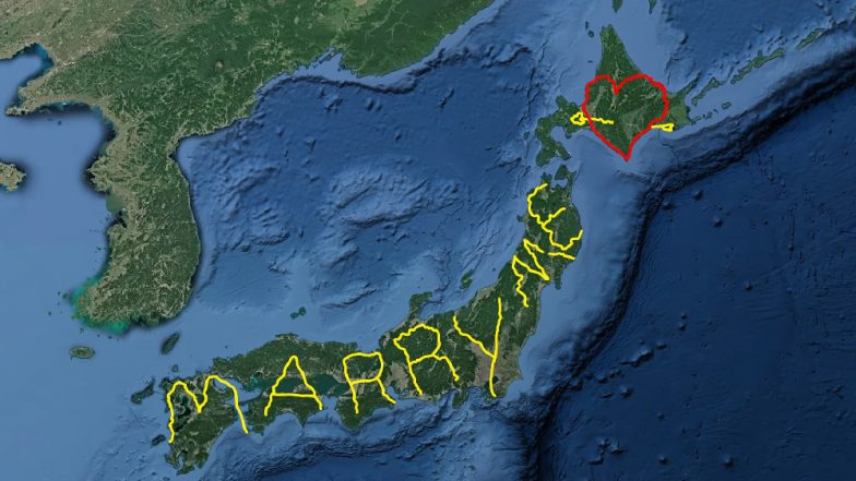 World's Most Unique Wedding Proposal? Japanese Man Travels 6 Months to Spell 'Marry Me' on Google Earth, Watch Viral Video