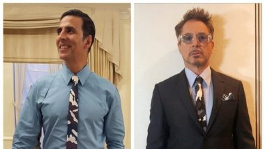 Avengers Endgame: Akshay Kumar Turns Into Iron Man Fanboy as He Matches His Givenchy Tie With Robert Downey Jr