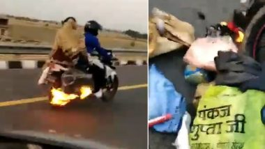 UP Police Save Biker From Unnoticed Fire on Lucknow-Agra Expressway, Video Goes Viral