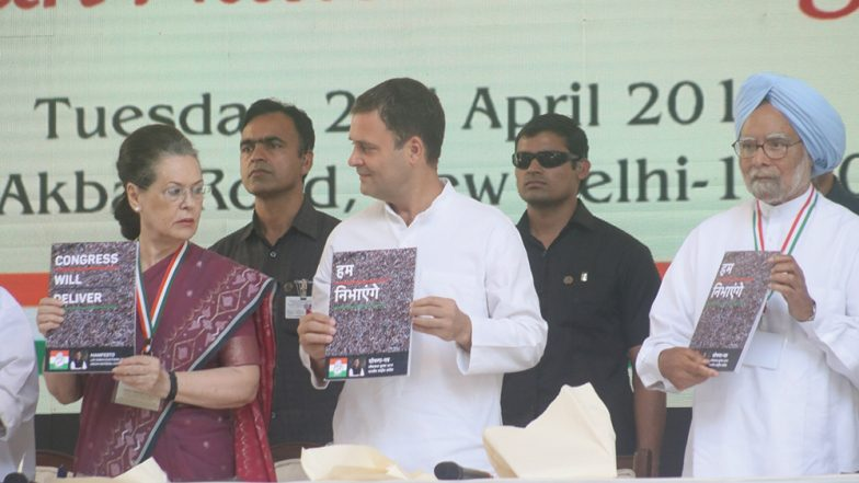 Congress Manifesto For Lok Sabha Elections 2019 List of Promises: NYAY, Farmers, GST 2.0, Jobs, Women Reservation, Kashmir; Highlights And Full Text of Party's Vision Document
