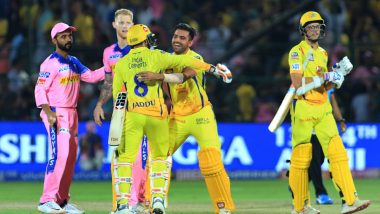 RR vs CSK Stat Highlights IPL 2019: MS Dhoni's Half-Century, Mitchell Santner's Last Ball Six Hands Chennai Super Kings Four-Wicket Win