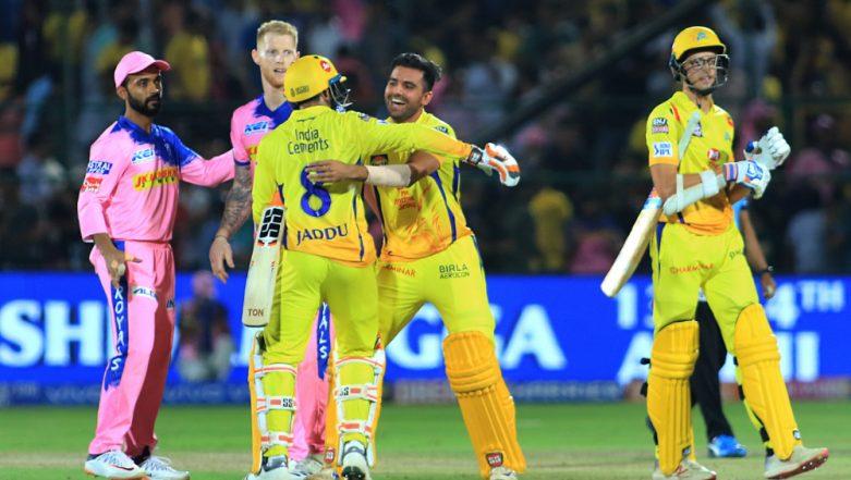 RR vs CSK Stat Highlights IPL 2019: MS Dhoni's Half-Century, Mitchell Santner's Last Ball Six Hands Chennai Super Kings Four-Wicket Win