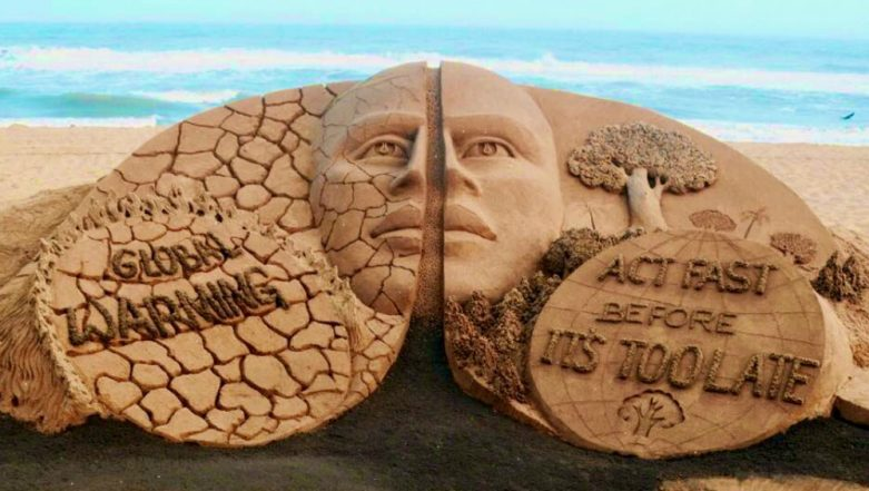 Earth Day 2019 Sand Art: Sudarsan Pattnaik Urges People to 'Act Before It's Too Late' (View Pic)