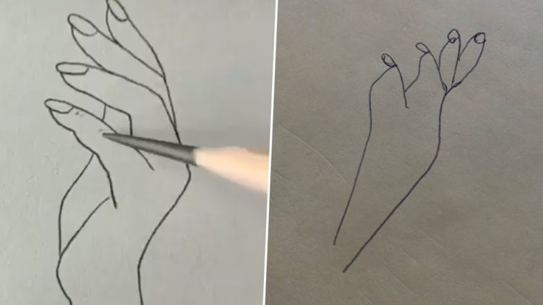 'Simple' Sketch of Woman's Hand Goes Viral and Twitterati Are Having a Tough Time Attempting to Draw It (Watch Video)