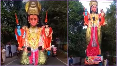 Massive Foldable Hanuman Ji Statue Holding Shree Ram and Sita Ji on a Busy Indian Street Goes Viral on Rama Navami; Watch Video