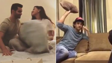 International Pillow Fight Day 2019: When Katrina Kaif, Ranbir Kapoor, Neha Dhupia, Angad Bedi Got Playful with Pillows – Watch Videos