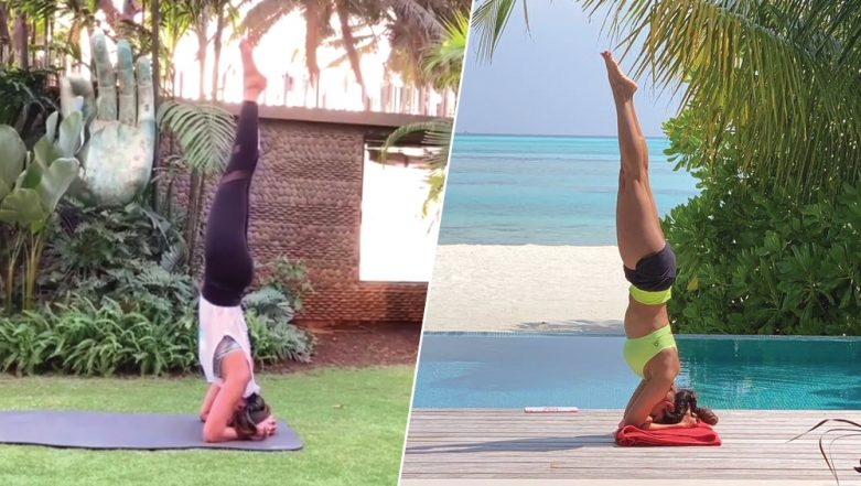 Malaika Arora and Shilpa Shetty Do the Yoga Headstand or Sirsasana to Motivate Fans (View Pics and Video)