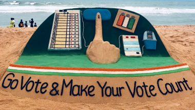 Vote for #India: Sand Artist Sudarsan Pattnaik Appeals to Vote for the Largest Festival of Indian Democracy