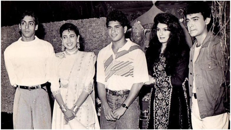 Sachin Tendulkar Birthday Special: This Throwback Pic of the Master Blaster With Salman Khan, Aamir Khan, Karisma Kapoor and Raveena Tandon Is Loaded With Nostalgia!