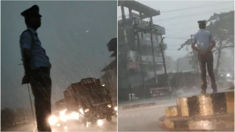 Video of Assam Traffic Police Mithus Das Braving Heavy Rain and Storm During Duty Goes Viral