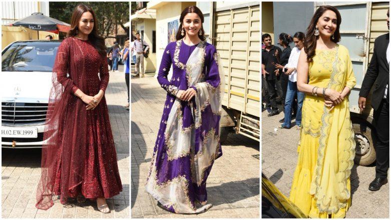 Kalank Trailer Launch: Alia Bhatt, Sonakshi Sinha and Madhuri Dixit Look Divine in Their Ethnic Ensembles - View Pics