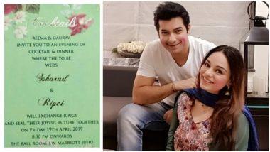 Ssharad Malhotra and Ripci Bhatia's Wedding Invitation Card Surfaces Online – View Pic